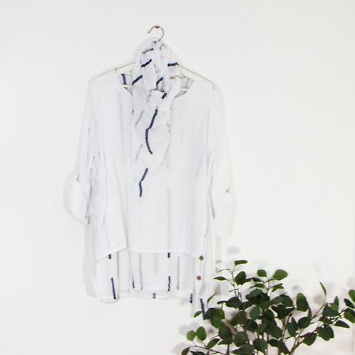 Double layer linen top with bar pattern underlayer-white