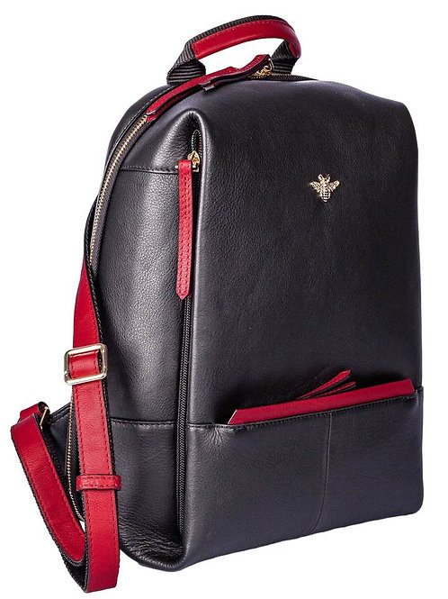 Black and Red Bee Leather Backpack