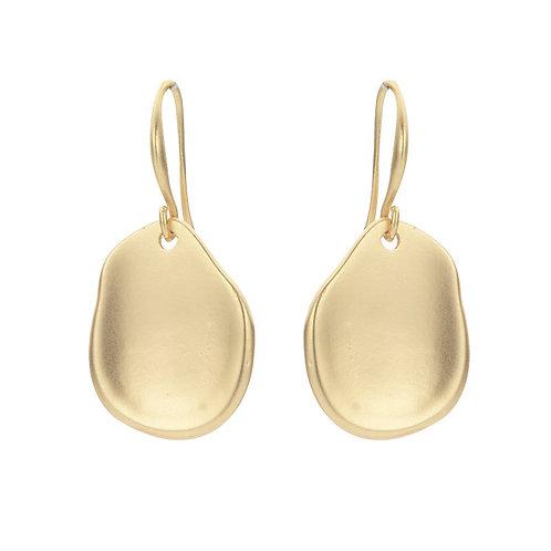 Matt Gold irregular circle small drop earring