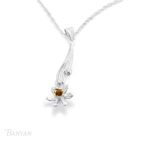 Sterling Silver and Gold Plated Daffodil Pendant