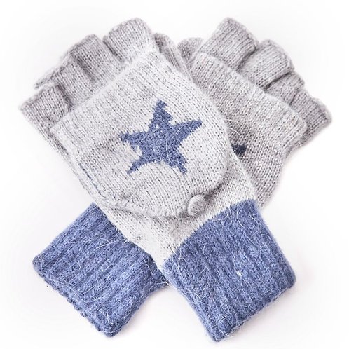 Wool Mix Fingerless Glove /Mitten - Grey