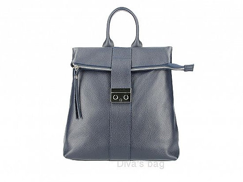 Buckled Italian Leather Backpack -Navy Blue
