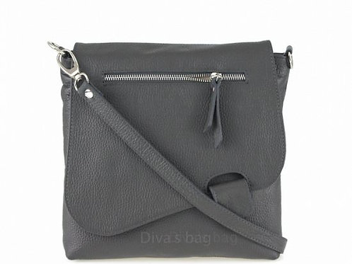 Dark Grey Slim  Cross Body Bag -  Italian Leather