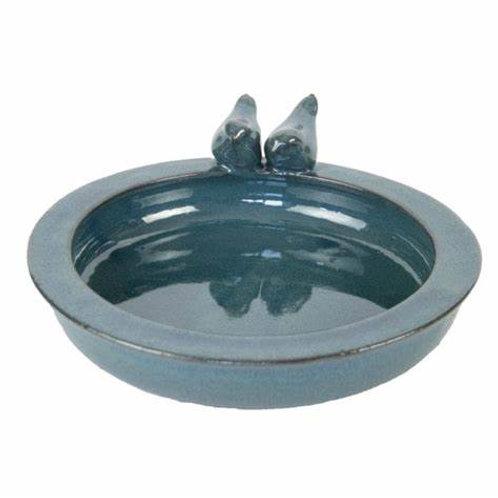 Blue Ceramic Bird Bath or Feeder