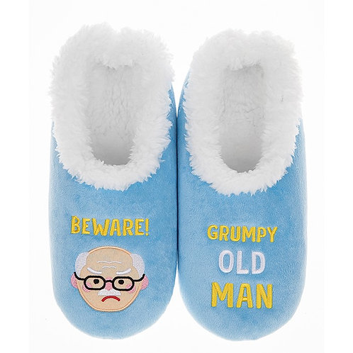 Mens Slippers - Grumpy Man - Large
