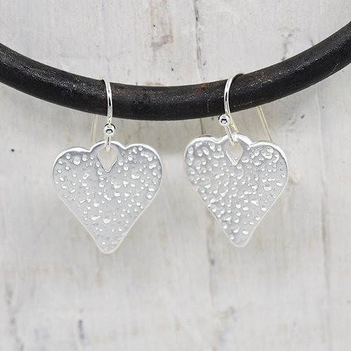 Costume Silver Heart Drop Earrings