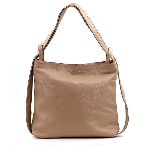 2 in 1 Italian Leather hanbag/backpack -Taupe