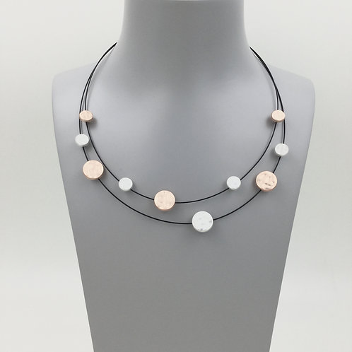 Wired necklace with textured mixed metal discs