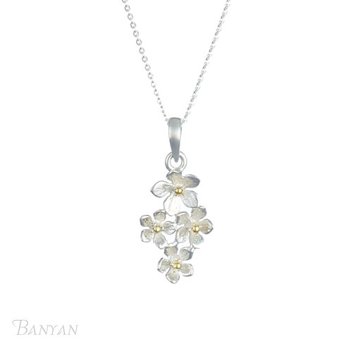 Four Dainty Flower Pendant