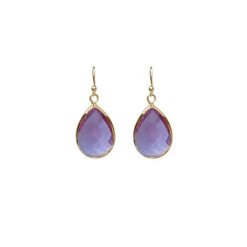 Teardrop gem earring -  Lilac