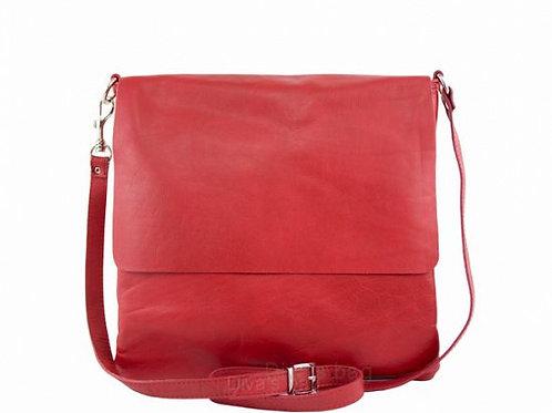 Soft  Flap Cross Body Bag - Red Italian Leather