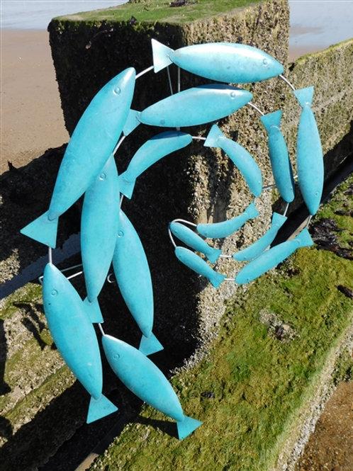 Turquoise metal fish swirl
