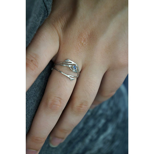 Green Zirconia Size 17-Thin Branches Ring Sterling Silver