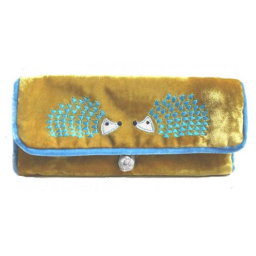 Hedgehog Embroidered Velvet Jewellery Roll -Mustard