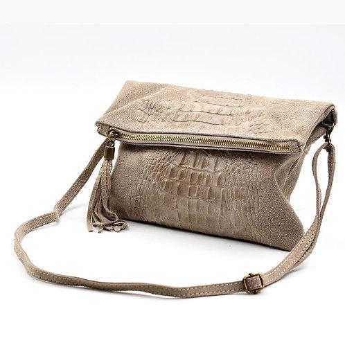 Italian leather crock effect clutch cross body - beige