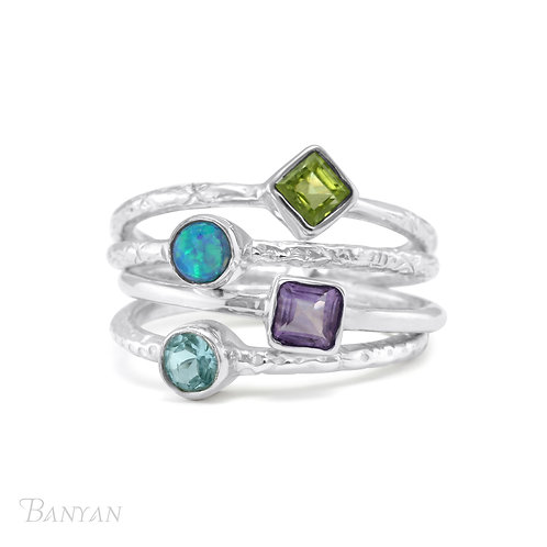 Joined Sterling Stacking Ring With Semi  Precious Stones -Q