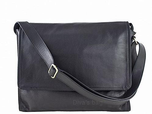 Black Soft Messenger Bag -Italian Leather