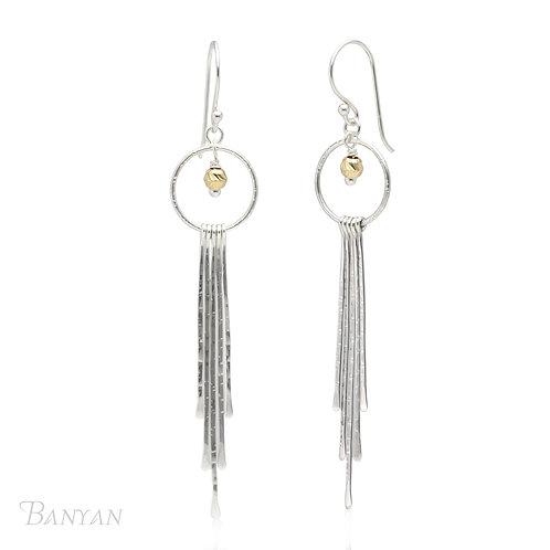 Irregular Strands of Sterling Silver Hoop Earrings