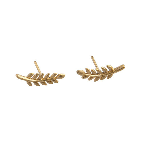 Curved Leaf Stud Earrings 14k gold plated Sterling Silver