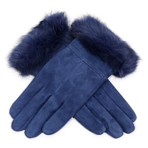 Suede Gloves with Fluffy Cuff - Denim