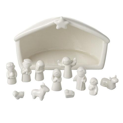 White Ceramic Nativity Set