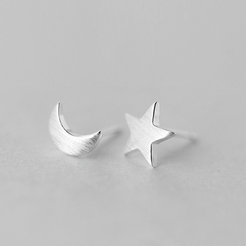 Sterling Silver Moon and Star Stud Earring