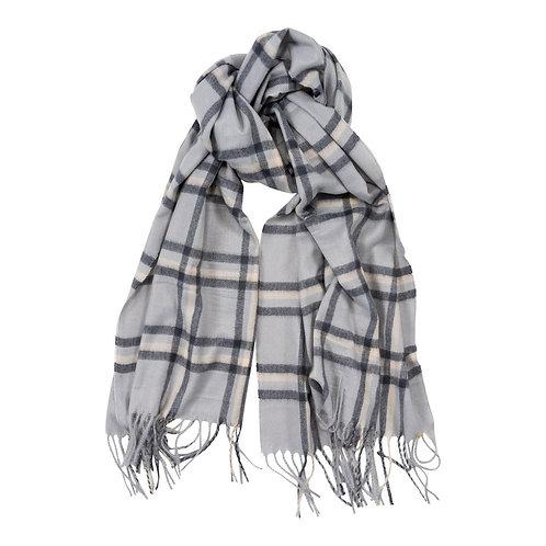 Grey Check Print Cosy Winter Scarf