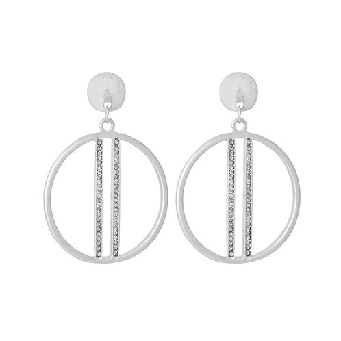 Hoop Earring with sparkle bar in silver