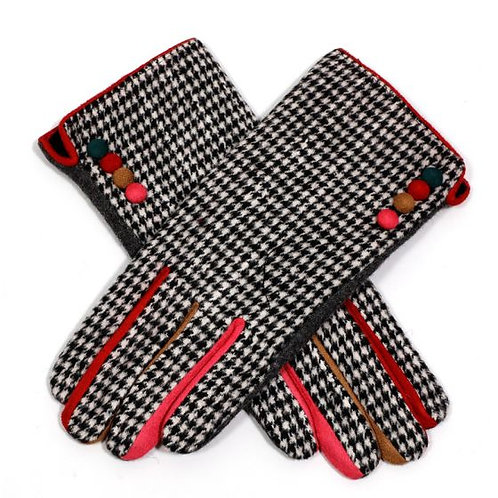 Herringbone Wool Mix Gloves with colour fingers