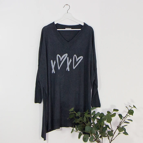 Fine knit free size jumper -Dark Grey