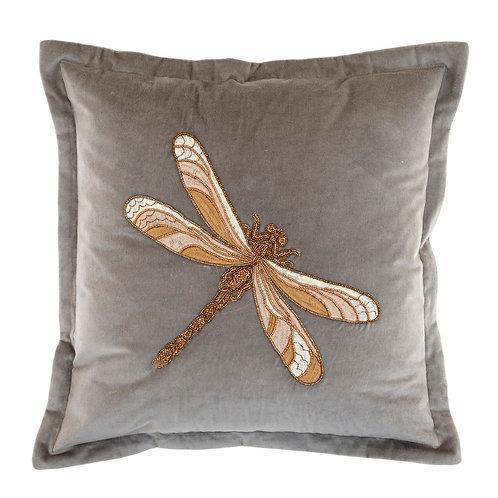 Voyage Velvet Dragonfly Cushion -Grey