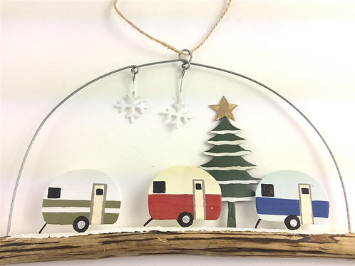 Christmas Caravans on a Twig Hanger