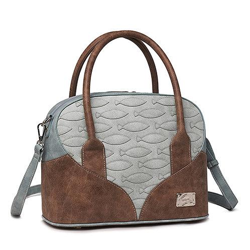Grey Fawn Fish Imprinted Shoulder Bag