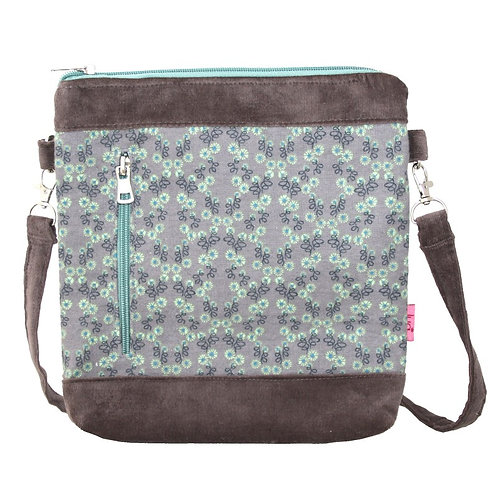 Banded Messenger Bag - Mink Flower
