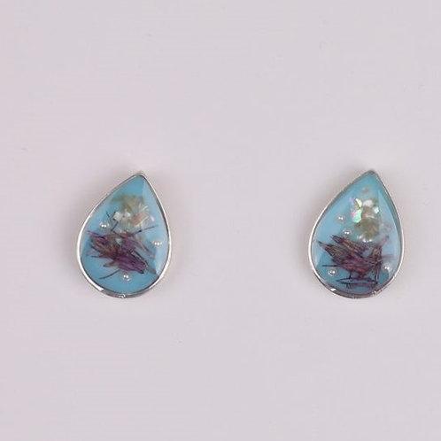 Teardrop Flower Resin Stud - Blue