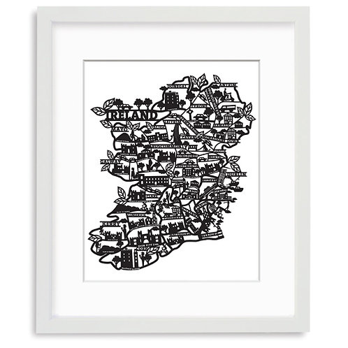 Laser Cut Map of Ireland - Black