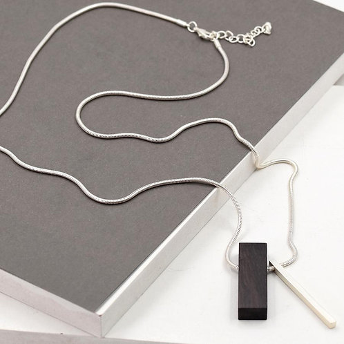 Rectangle ebony pendant on chain necklace - silver