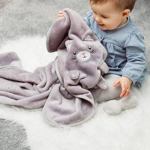 Kitty Cat Grey Soft Fleece Baby Blanket
