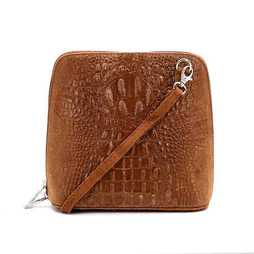 Crocodile patterned Italian leather suede cross bag - Mocca