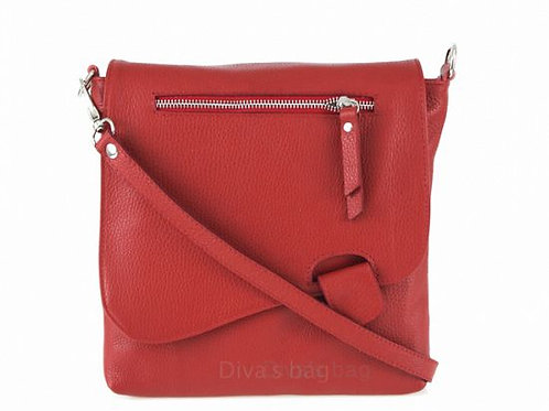 Slim Italian Leather Cross Body Bag - Red