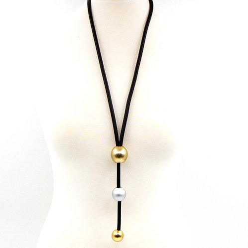 Y-shape neoprene necklace with two tone beads