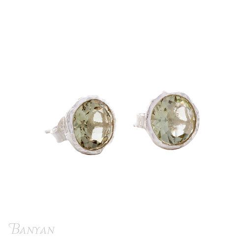 Large Green Amethyst Stud Earrings