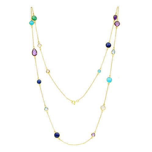 18kt Gold Vermeil Rafael long mixed stone necklace