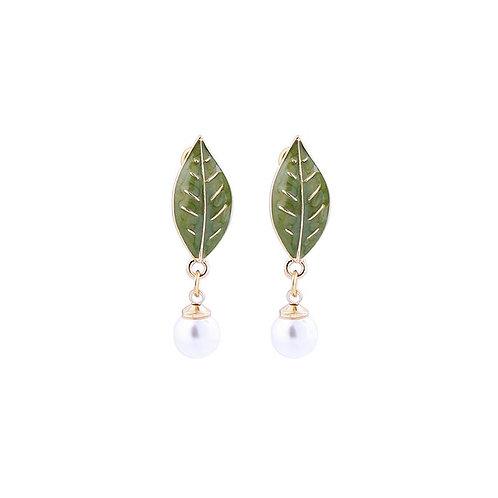 Enamel Leaf and Pearl Drop Earrings