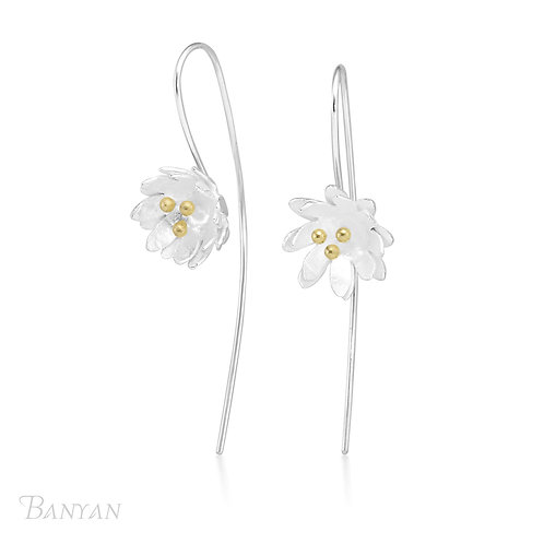Double Petal Lilies Earrings with Gold Plated Stamens