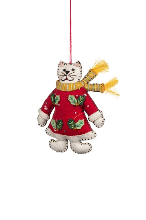 Christmas Cat in Red Dress Hanging Decoration