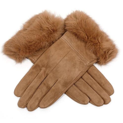 Suede Gloves with Fluffy Cuff - Beige