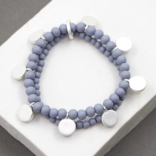 Double strand beaded bracelet - grey