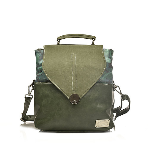 Forest Green Backpack with Leaf Fabric Details