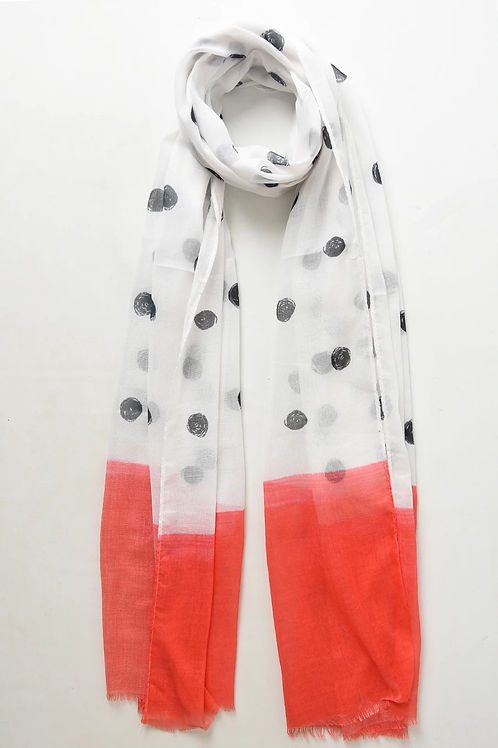 A  polka dot designed scarf with colour block ends - white and coral